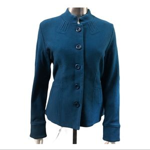 Cotton Silk Blend Military Style Button Front Coat